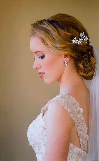 Bride with a vintage bun bridal hairstyles and veil